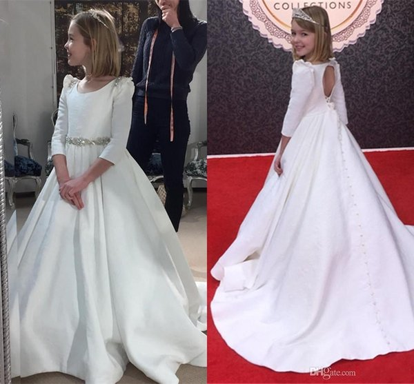 2019 Vintage Satin Flower Girl Dresses For Wedding With Long Sleeve Beaded Crystal Princess Toddler Party Dress Evening Girls Pageant Dress