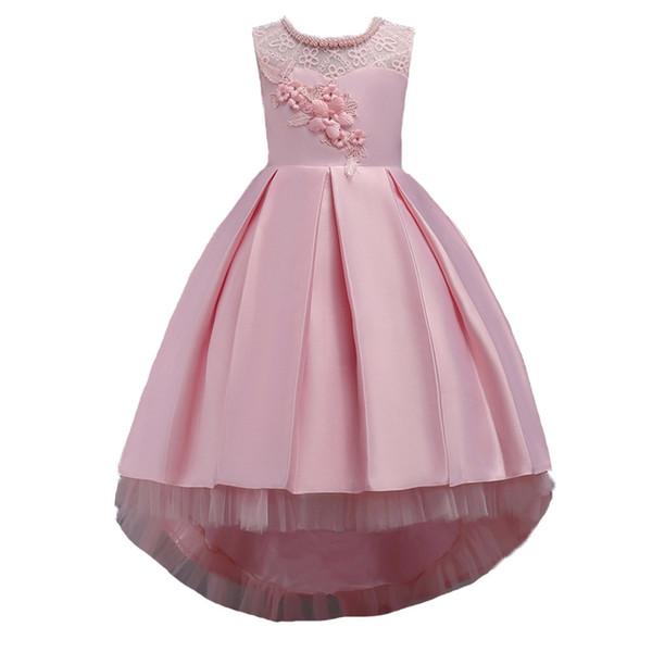 Moda Kızlar Dantel Çiçek Prenses Elbiseler Çocuk Düğün Parti Balo Tutu Elbise YENI