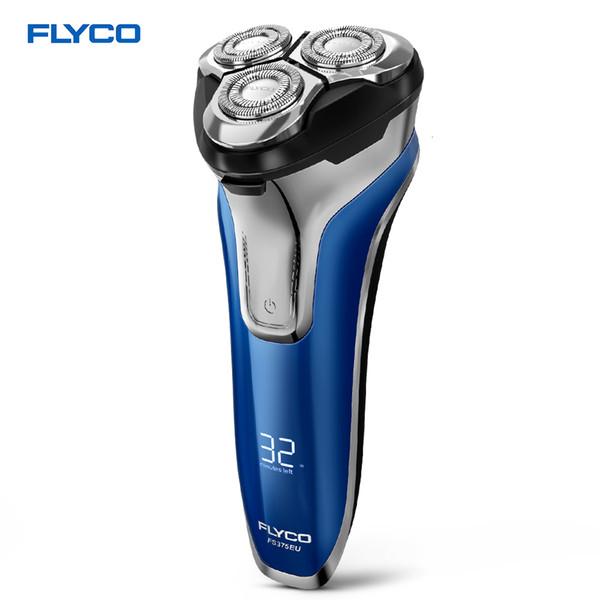 FLYCO FS375 électrique rechargeable rasoir humide sec Rotary rasoir pour les hommes rasage machine Pop-Up Trimmer LED de charge DisplayMX190926