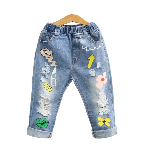 New design baby girls denim pants lips wash blue Tassels rags children fashion pant kids spring autumn long trousers cowboy pants