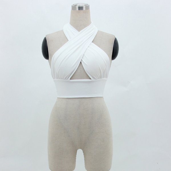 top popular Sex Women Strappy Cross Tank Top Over Front Cut Out Halter Neck Sleeveless Backless Bandage Vest Summer Sexy Tops Woman Clothes 2021