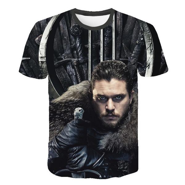 2019 Summer Season 8 tshirt Song of Ice and Fire T-shirt 3d Print T-shirts Casual Iron Throne Tshirt men
