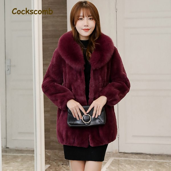 Natural fur collar fashion winter whole skin real rex fur jacket women medium long slim waist coat outerwear