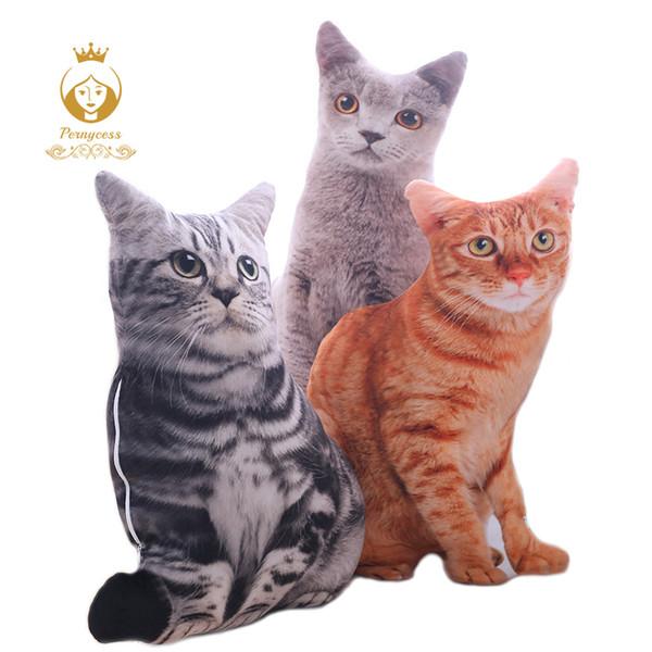 1PCS 50CM 3D Simulation Cats Pillow, Cute Cat Lavable Plush Stuffed Pillow, Juguete para niños, Sofá Almohada, Decoración del hogar SH190916