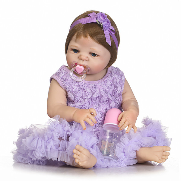 Bebe Reborn 57cm Full Silicone Reborn Baby Doll Kids Playmate Gift for Girls Baby Alive Soft Toys Bouquets Doll