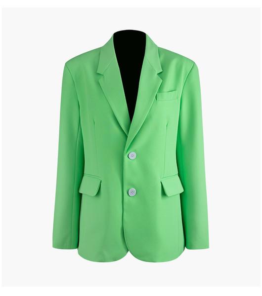 Yeni Varış Sonbahar Kış Kadın Yeşil Blazers Kruvaze Takım Elbise Ceket Uzun Kollu Ince Ofis Lady İş Blazer Ceket A110