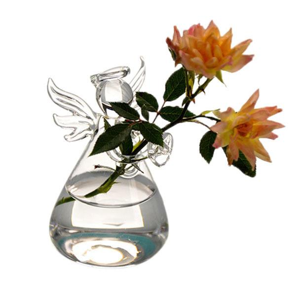 5pcs Hot New Cute Glass Angel Shape Flower Plant Stand Hanging Vase Hydroponic Container Home Office Decor Y19062803