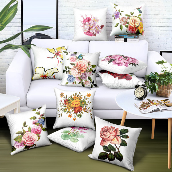 45X45 cm Custom Pillow Covers with Roses Satin Flowers Printing Brand Advertising Sofa Car Chair Seat Case Decorative Cushion Covers