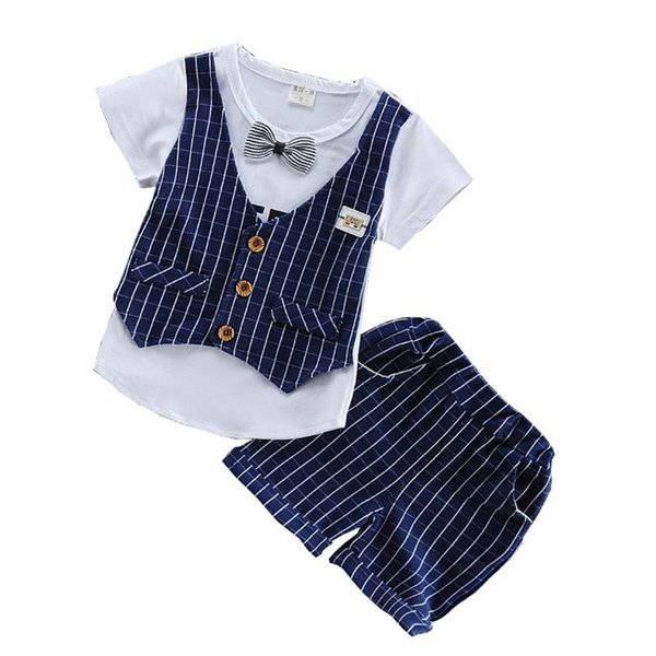good quality Summer Baby Clothes Boys Clothing Set Lattice Tops+ Shorts 2pcs Tracksuit Kids Sport Suits Children Clothing