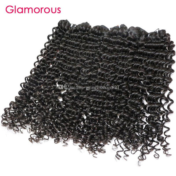 Glamorous Peruvian Human Hair Weave Natural Color Virgin Hair Bundles 3 Pieces Tight Curly Malaysian Indian Brazilian Remy Hair Extensions