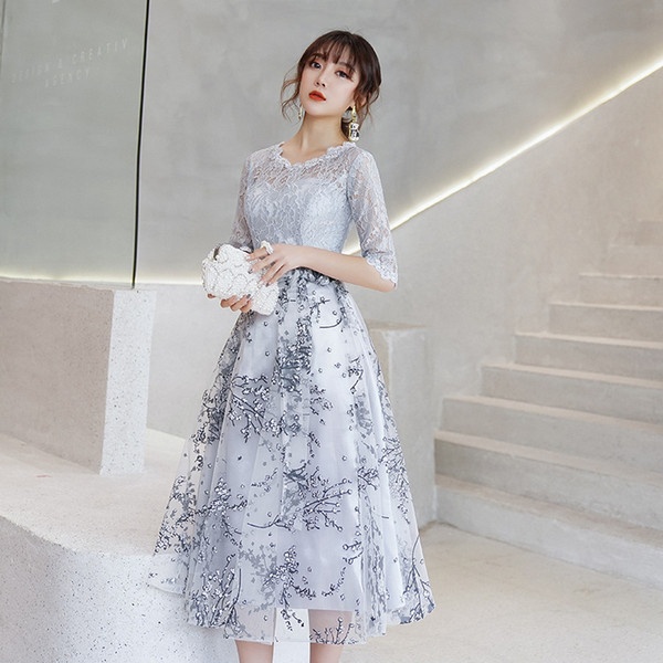 Silver Gray Lace Short Modest Bridesmaid Dresses With 1/2 Sleeves A-line Tea Length Cheap Party Dresses Inexpensive Wed Party Dress