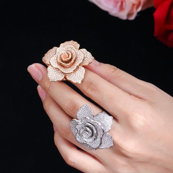 Anelli gioielli ERLUER marca per le donne d'argento di moda oro rosa Fill zircone cristallo Fiore festa di nozze di lusso l'anello di barretta ragazza V191212