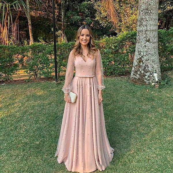 2019 Generous V Neck Evening Dresses with Bow Beaded Illusion Long Sleeves Prom Gowns Zipper Back A Line Party Formal Dress