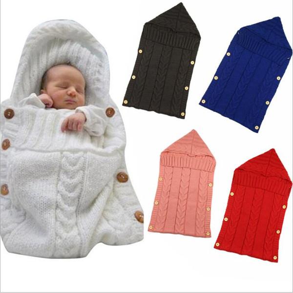 Baby Blankets Newborn Toddler Blanket Infant Babies Bag Knit Button Costume Crochet Knitted Sleeping Bags Sleep Sacks