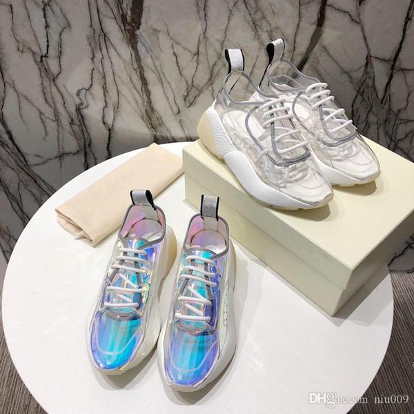 2019 NEW Luxus echtes Leder Designer-Turnschuhe Art und Weise Männer beiläufige Schuh-Frauen-Schuh-Trainer-Mischfarbe rx190513