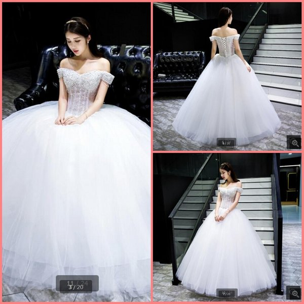 Vestido De Festa 2019 white lace sexy off the shoulder wedding dress v neck beading lace short sleeve elegant wedding gowns best selling