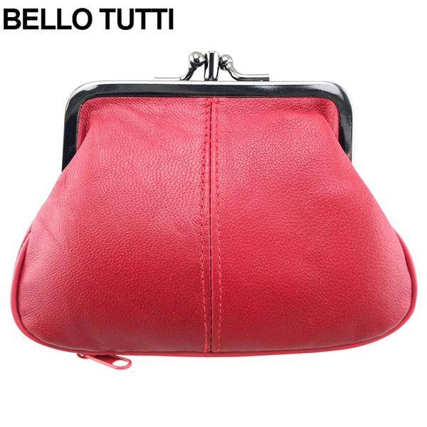 BELLO TUTTI Genuine Leather Coin Purse Womens Sheepskin Change Purse Metal Hasp Closure Card Holder Wallet Zipper Small Bag #111783