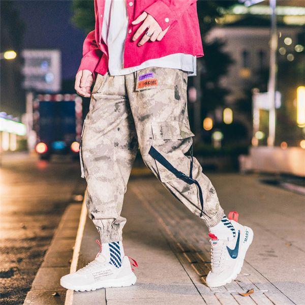 Erkek Kamuflaj Kargo Pantolon Moda Erkek Patchwork İpli Pantolon Spor Erkek Ulzzang Pantolon Kalça Pop Giyim