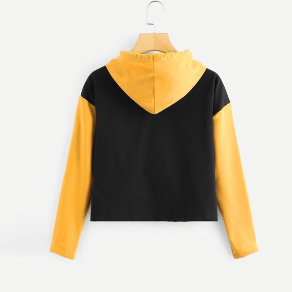 Großhandel Frauen Kurze Hoodies Sweatshirts Casual Schwarz Gelb Patchwork Langarm Sweatshirt Pullover Tops Sudadera Mujer # 10T Von Dolylove, $23.68