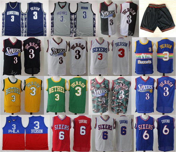 official photos e2623 1ef1a 2019 Philadelphia Basketball 76ers Allen Iverson Jersey 3 Men Georgetown  Hoyas College Dr J Julius Erving Jerseys 6 With Short Uniform Black Blue  From ...