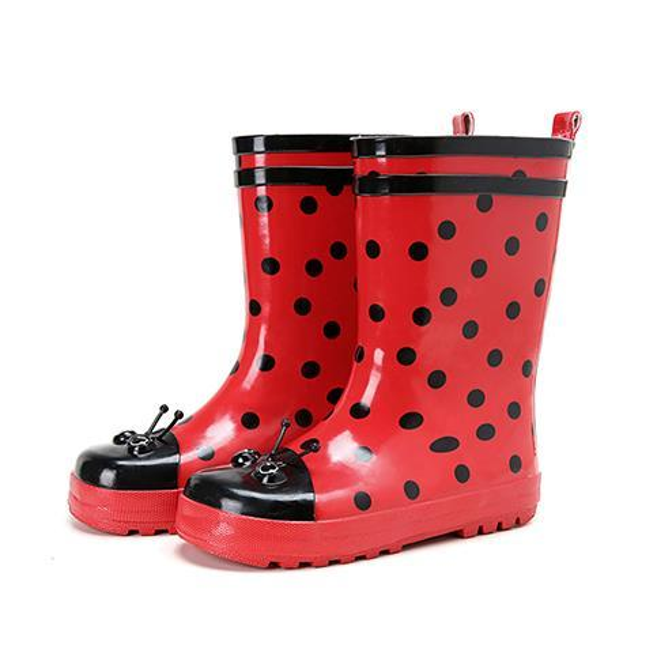 Hot vente-enfants 2016 nouvelle eau enfants chaussures d'été en caoutchouc pluie bottes printemps mi-mollet bande dessinée mode étudiant bottes mignon point rouge
