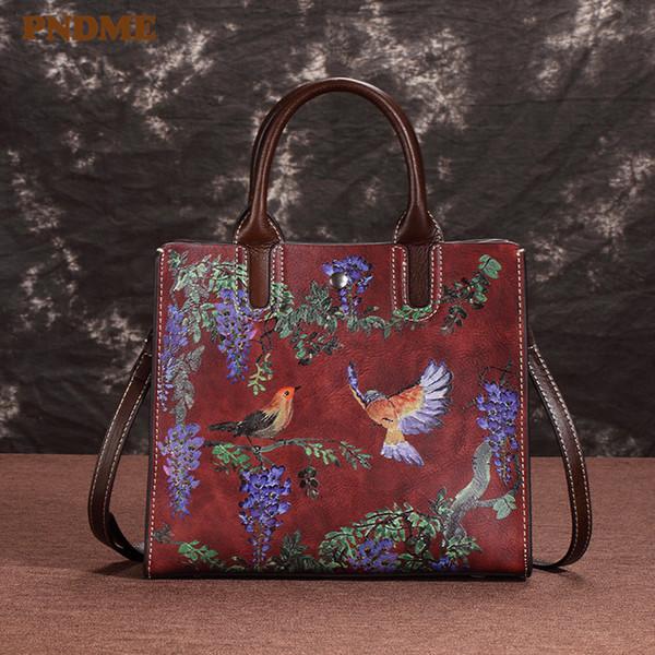 PNDME luxury first layer cowhide shoulder diagonal bag for ladies vintage fashion embossed genuine leather women's handbag