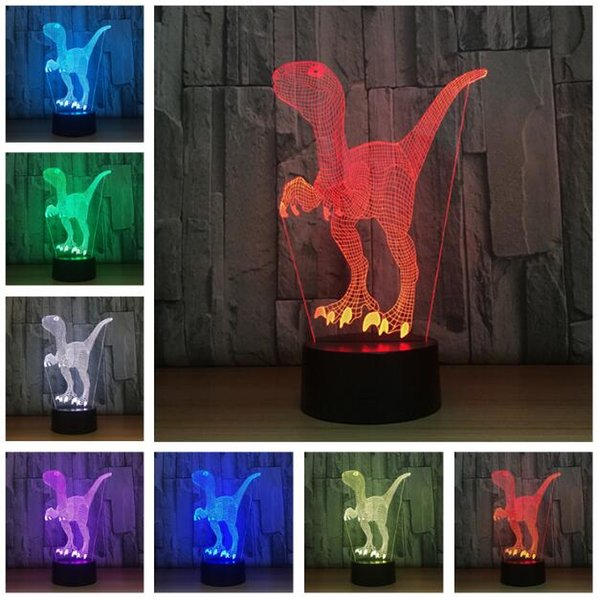 Dinosaur Model Lamp Plastic Velociraptor Action Figure Jurassic World Park 7 Color Change Dinosaurs Figures Night Light Decor Gifts For Kids