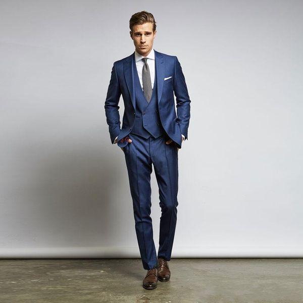 Costumes De Mariage Bleu Costumes Slim Fit Pour Hommes Groomsmen Suit Trois Pièces Pas Cher Prom De Costumes Formels (Veste + Pantalon + Gilet + Cravate)
