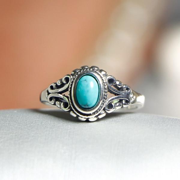 Qualité élégante 925 anneaux réglable Vintage Turquoise Bague 925 Bague en argent pour les femmes 925 Bijoux