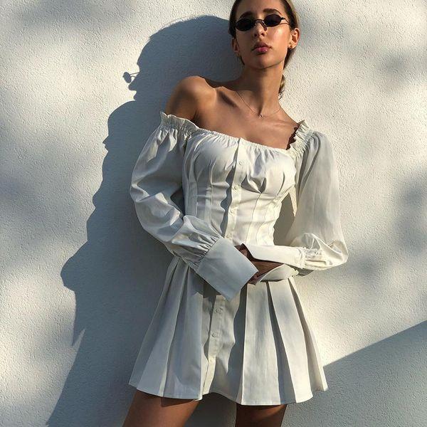 2019 Осень Новая Мода Женщины Платье Puff Рукава Оборками С Плеча Тонкий Короткое Платье Плиссированные Ретро Белое Платье
