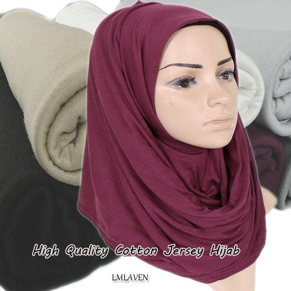 High quality thicker Jersey hijab Elasticity plain cotton wraps shawl muslim solid color scarves scarf headband180*85cm