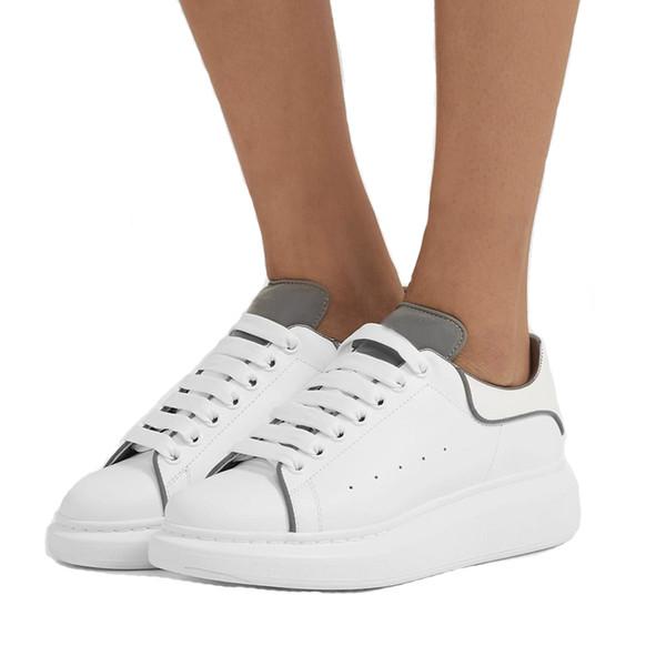 McQueenn shoes  YENI Kadın \ 'ın Beyaz Platform Ayakkabı 3M Yansıtıcı% 100 Deri erkek ayakkabı tasarımcısı abartılı-tek Boy Sneakers SZ
