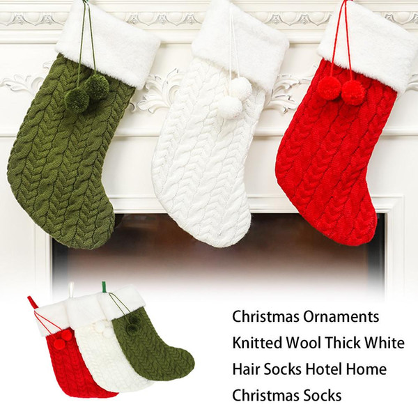 Christmas Ornaments Knitted Wool Thick White Hair Socks Hotel Home Christmas Socks New Year Gifts For Kids Xmas Tree Ornament