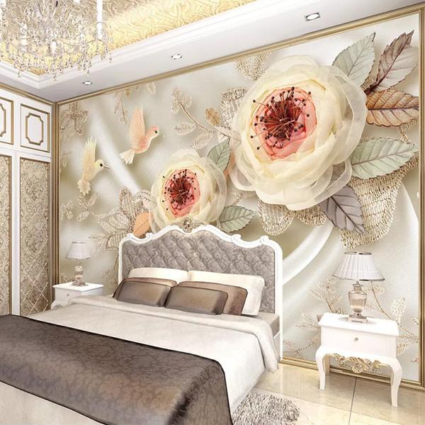 Пользовательские фото обои роскошные свадебные комнаты 3D шелковые цветы птица кружева гостиная телевизор фон обои для стены 3 D росписи декор