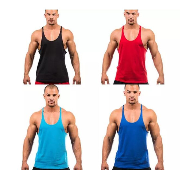 Mens Vest Cotton Stringer Bodybuilding Equipment Fitness Gym Tank Top shirt Solid Singlet Y Back Sport clothes Vest 7 Colors Cotton Vest