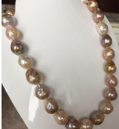 wunderschöne 13-14mm Süßwasser Barock Multicolor Perlenkette 18inch 925silber