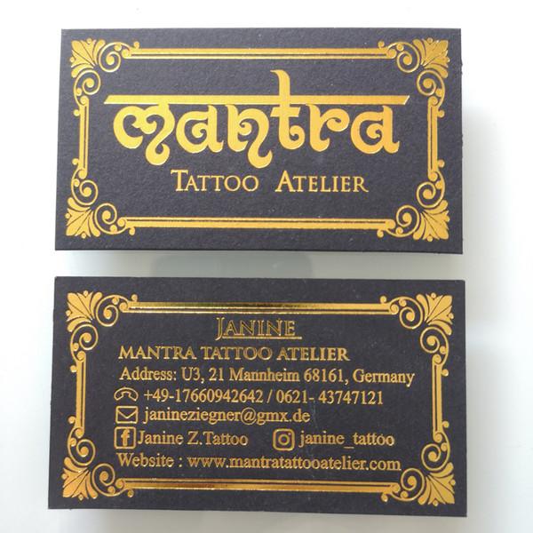 Großhandel Custom Order 85x50mm Visitenkarte Goldfolienprägung Auf 500gsm Dicken Schwarzen Karton Art Nr Cu35 Von Xmyl 150 76 Auf De Dhgate Com