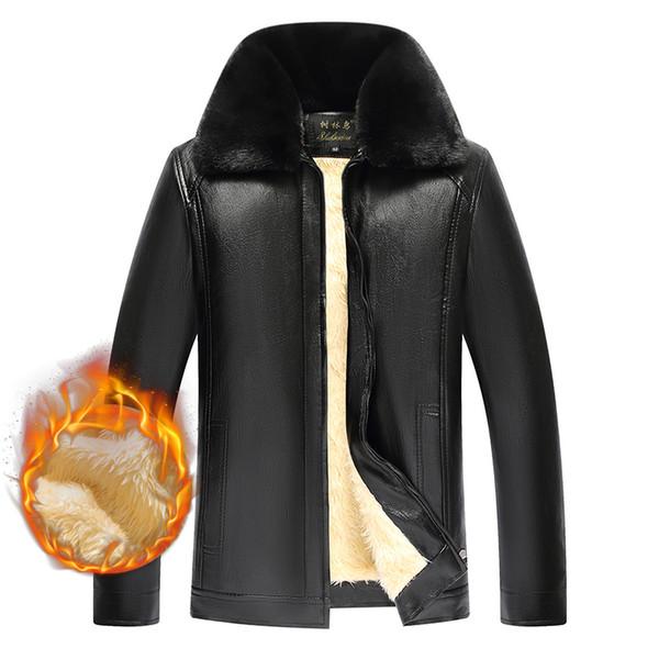 Hiver veste en cuir PU avec Blanc Polaire pour hommes Casual Varsity chaud affaires épaisse fourrure d'extérieur Manteau Grande Taille