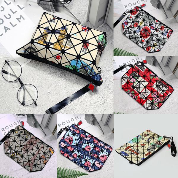 Mujeres geométricas plegables bolso de mano rombal bolso cosmético 2019 nuevo paquete de tarjetas de impresión viento étnico viaje monedero