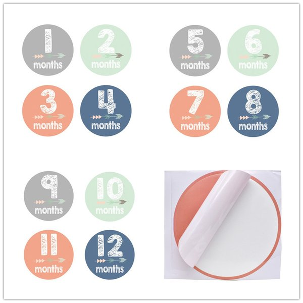 Baby Pregnancy Photo monthly stickers 10x10cm 12 months New borns milestone adhesive sticker adorable Photo props for boys girls mothers