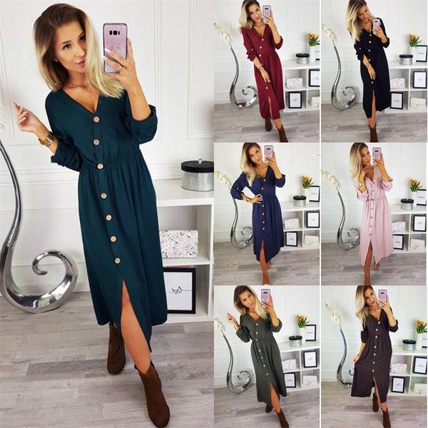 V Collar Dress Fork Opening 3 Pure Colors Elastic Waist Long Sleeves Dresses Women Beauty Home Clothing 24ze E1