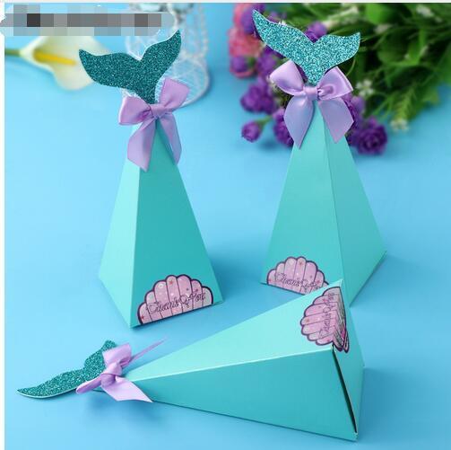 Compre Little Mermaid Gift Boxes Sweet Paper Candy Box Sirena Decoraciones Para Fiestas De Cumpleaños Kids Favor Boxes Para Bodas Gb415 A 2704 Del