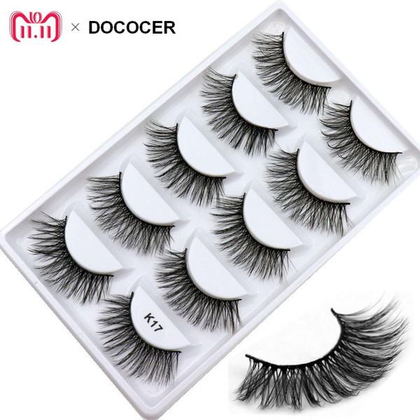 5 Pairs/box Natural Cross 3D Mink False Eyelashes Long Messy Makeup Fake Eye Lashes Extension Make Up Beauty Tools maquiagem K17
