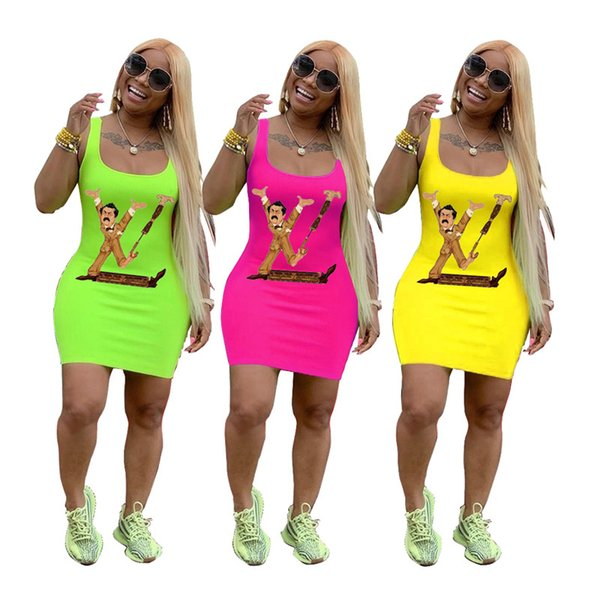 2019 designer woman summer dresses Spoof Brand bodycon dresses long Tank Top Skirt Colored Tunic Dress For Lady Party Club Wear 9COLORC71108