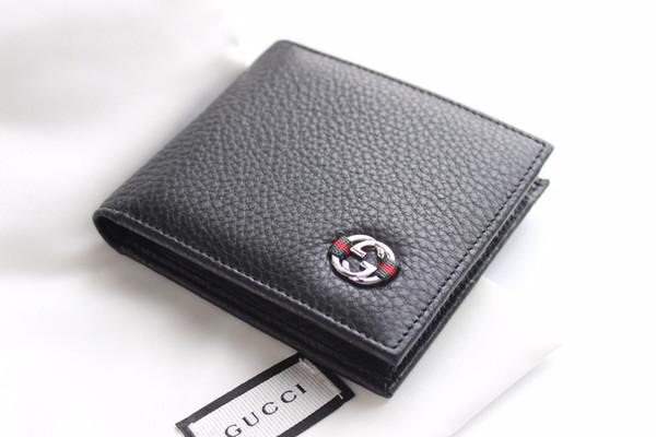 2019 черный натуральная кожа короткие мужчины бумажник с коробкой классического письма холст размер кошельков женщин держатель карты 11-6-3 см 365464