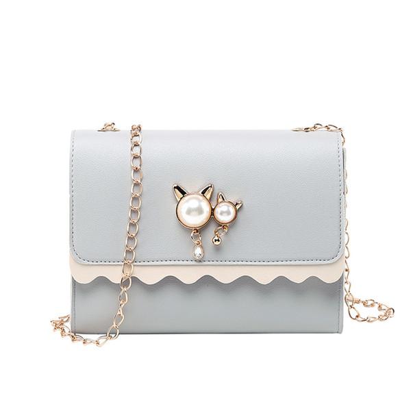La cadena del hombro bolsa de la mujer salvaje individual bolsa de mensajero con el cerrojo de la PU de los bolsos de cuero sólidas perla colgante lindo del gato de la cremallera pequeña plaza