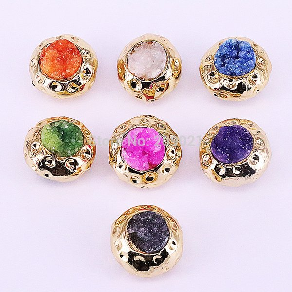 8Pcs Round shape Mixed Color Nature quartz drusy stone spacer Beads, Gold Electroplated gem connector Beads, for jewelry making