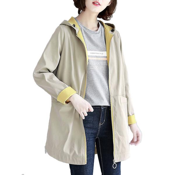 Acheter Mode Nouveau Mince Trench Coat Femmes Printemps Automne À Capuche Coupe Vent Étudiants Casual Tops Plus Taille Femme Lâche Trench Coat H770 De