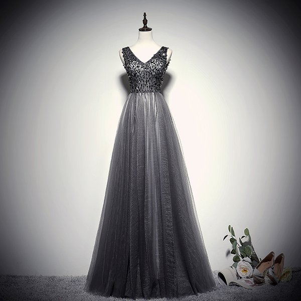 Ladybeauty New Arrived Beading Evening Dresses Sexy Prom Gowns With Backless Party Elegant Long A Line Formal Robe De Soiree