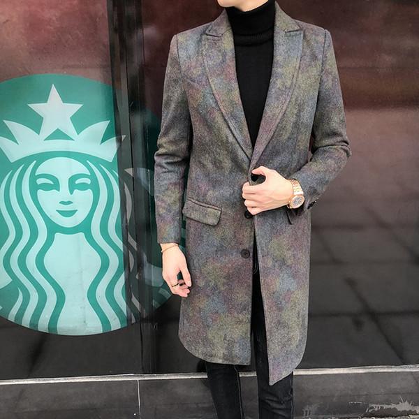 A321 / 867 Cappotto di lana invernale Cappotto allentato di lana da uomo di colore di moda invernale maschile Cappotto di lana coreano P145